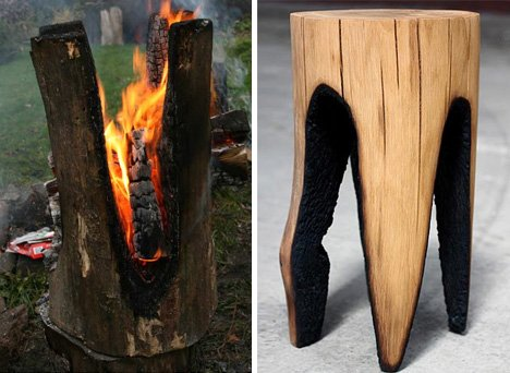 Hot Seats! Stools Set on Fire to Create Charred Log Chairs