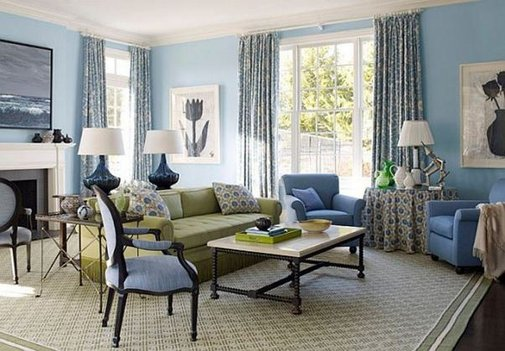 Blue Living Room Interior Design Ideas
