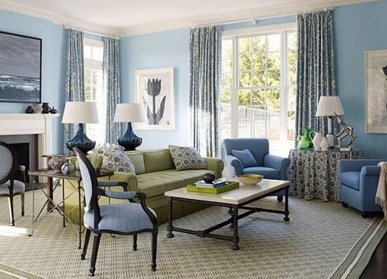 Blue Living Room Interior Design Ideas