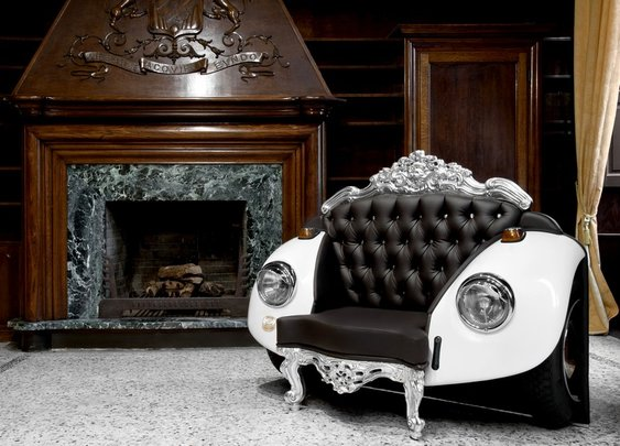 Mixing Baroque Elements and Car Art: Distinctive Glamour Beetle Armchair
