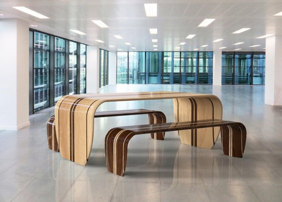 Original Surf-Inspired Table and Bench by Duffy London