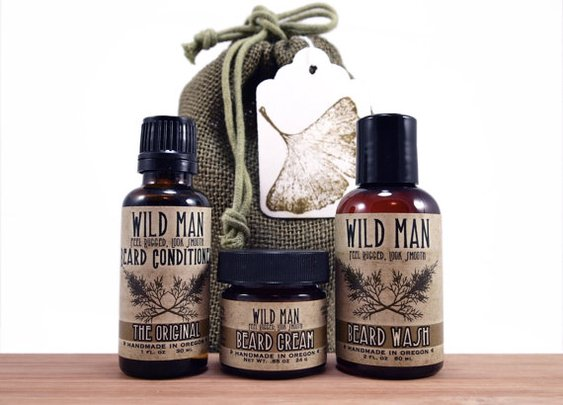 Man Gift Basket BEARD Conditioner Wash Cream Wild by WildRoseHerbs