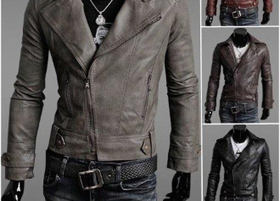 Men's Biker PU Leather Jacket
