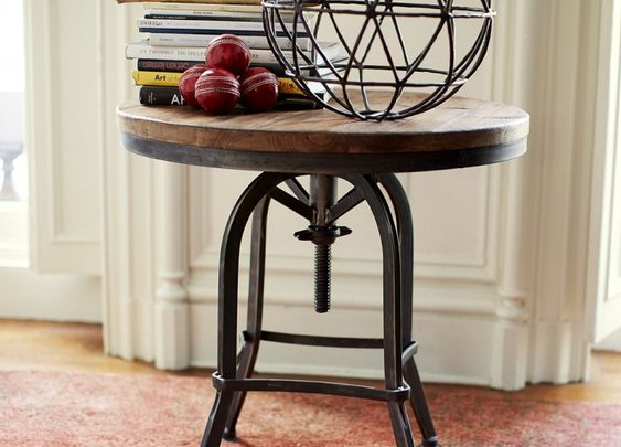 WELDON ADJUSTABLE METAL & WOOD SIDE TABLE