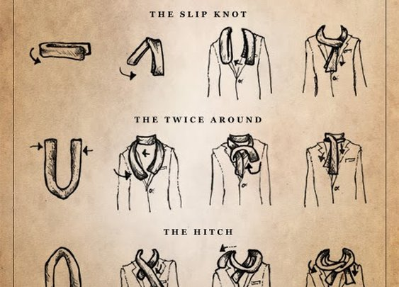 Captain Dapper: Tie One On: 5 Scarf Tying Guides to Bookmark
