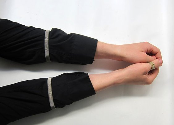 Pair retro silver chrome stretch mens shirt sleeve by evaelena