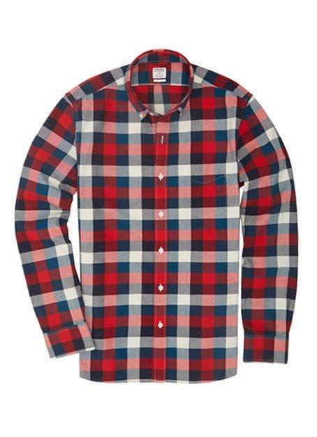 Rhodes Collar Slim - Red & Blue Multi Check