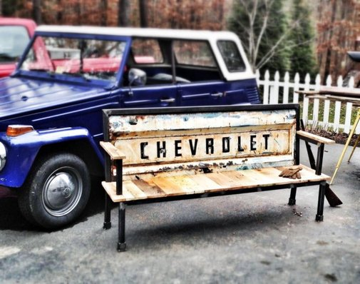 Reclaimed Wood + Salvaged Steel Industrial Furniture | Yesterday Reclaimed  | Blue Collar Bench