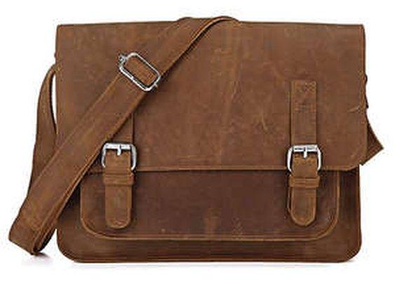 Leather Family — Vintage Genuine Crazy Horse Leather Satchel Messenger Bag Brown Color