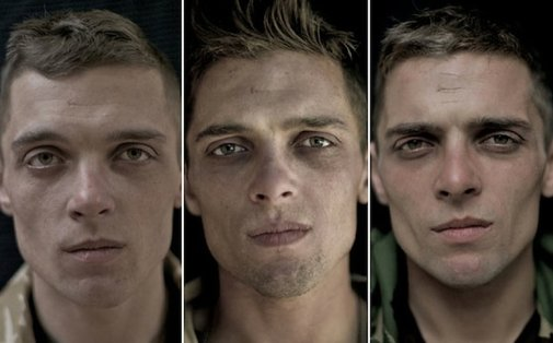Portraits of Soldiers Before, During, and After War