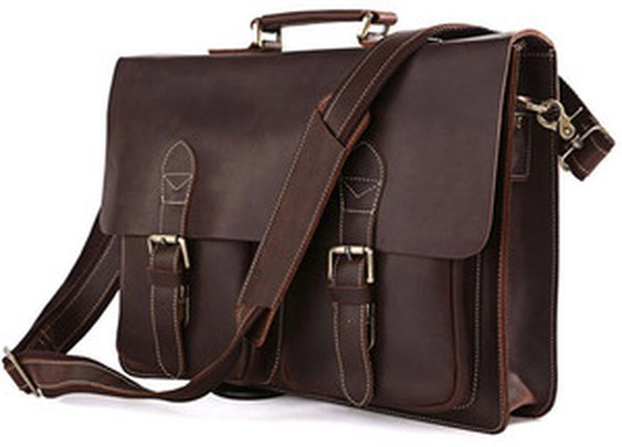 Leather Family — Rare Genuine Cow Leather Men's Briefcase Laptop Handbag Messenger Macbook Bag