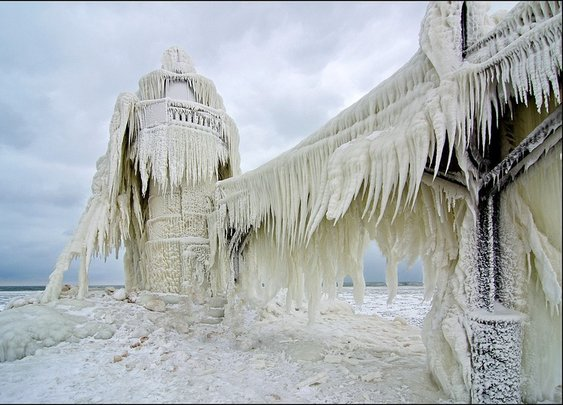 Frozen Lighthouse Becomes Ice Sculpture