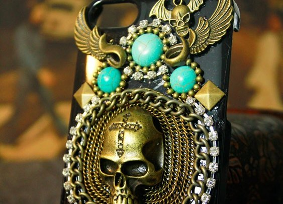 Handmade Punk Skull iPhone Case (for ip4, ip4s, ip5, ip5s)