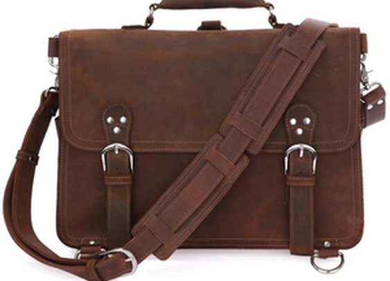 Leather Family — Large Crazy Horse Leather Briefcase Messenger Computer Bag Double Compartments Travel Tote Bag