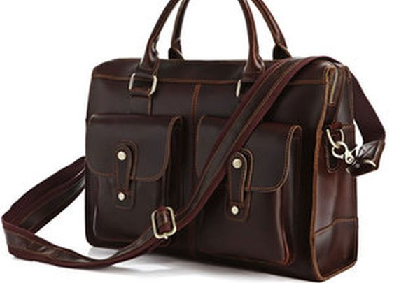 Leather Family — Genuine Hard Cowhide Messenger Bag Briefcase Handbag Laptop Computer Bag Business Travel Tote
