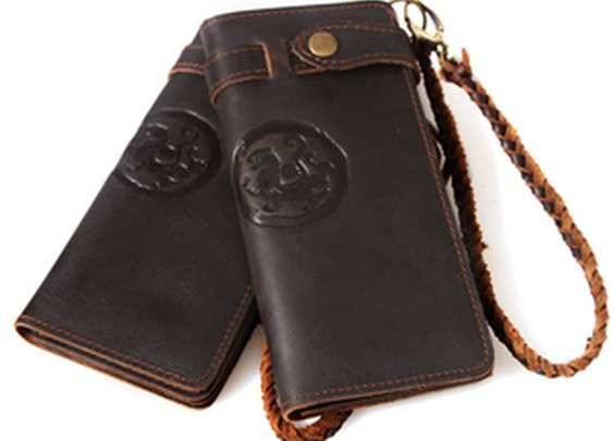 Leather Family — Handmade Antique Crazy Horse Leather Wallet Vintage Tiger Totem Pattern