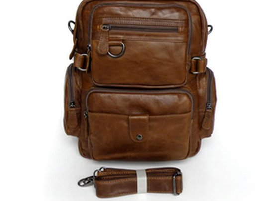 Leather Family — Cowboy Vintage Leather Men's Travel Backpack Bookbag Schoolbag Hiking Messenger Bag