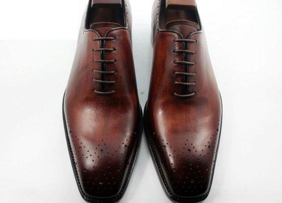 Bespoke Shoes/ custom hand-colored dark brown patina