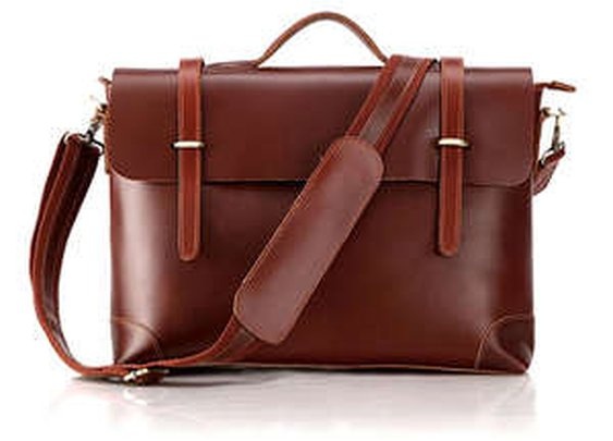 Leather Family — Genuine Cow Leather Briefcase Laptop Messenger Bag Ipad Macbook Bag in Red Brown
