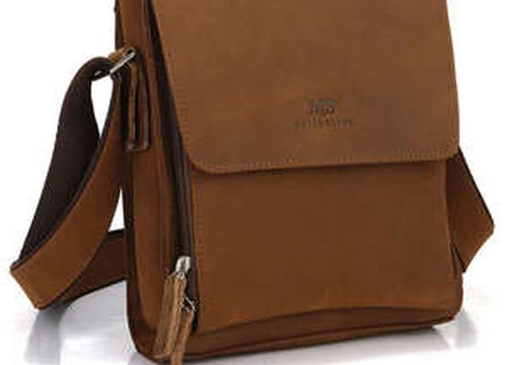 Leather Family — Genuine Saddle Leather Men's Messenger Bag Crossbody Bag Shoulder Bag Ipad Case in Light Brown