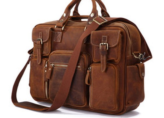 Leather Family — Rare Crazy Horse Leather Men's Briefcase Laptop Bag Dispatch Shoulder Huge Duffle in Red Brown