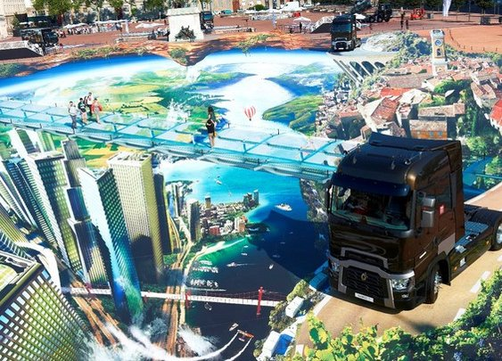 3D Street art installation with Renault trucks