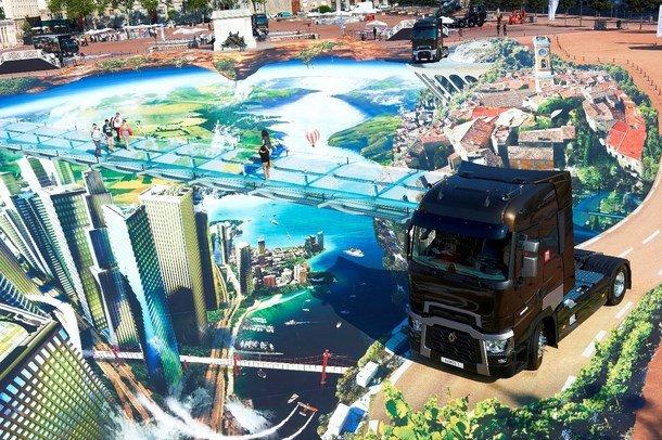 3D Street art installation with Renault trucks