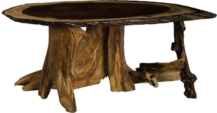 Amish Rustic Living Oval Coffee Table With Stump Base Amish