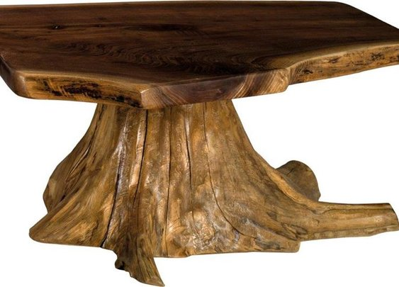 Amish Rustic Living Coffee Table with Stump Base   Amish Coffee Tables   Amish Accent Tables 47342