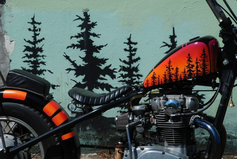 Pacific Northwest Themed Yamaha XS650 Chopper