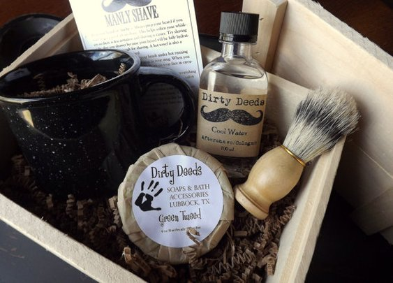 Men's Shave Set in Deluxe Wood Box with by DirtyDeedsSoaps on Etsy