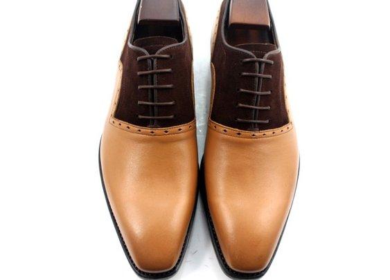 custom made tan calf & dark brown suede oxford shoe