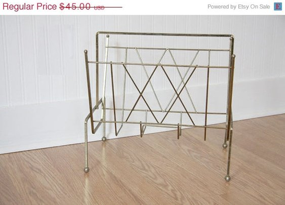 SALE Vintage Magazine Rack Industrial Magazine Rack by MollyFinds