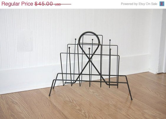 SALE Black Magazine Rack Mid Century modern home by MollyFinds