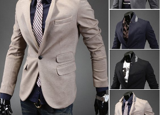 Men's Single Button Blazer with Collar Details