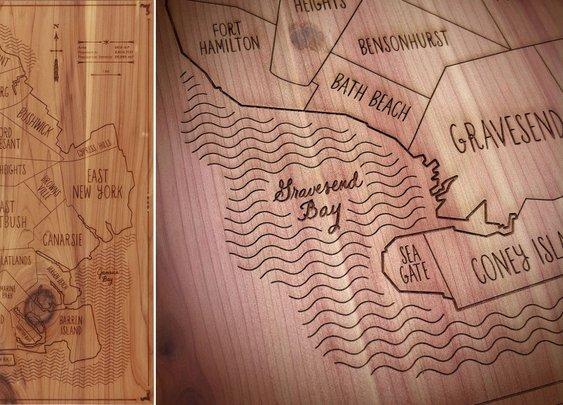 Neighborwoods Laser Etched Cedar Wood Geography Wall Art