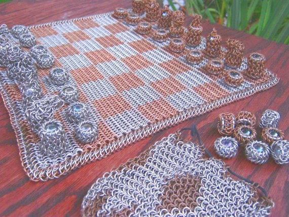 Chainmaille Chess and Checkers Set