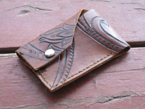 Hand-tooled Leather Wallet - Upcycled leather from 1975