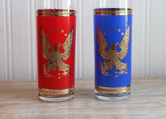 SALE Vintage Drinking Glasses Patriotic America Gold by MollyFinds