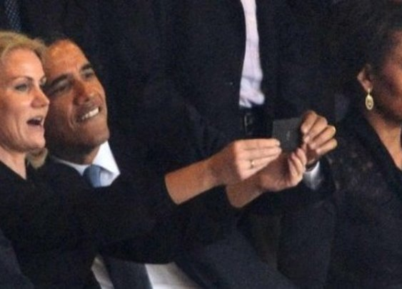 Obama takes a selfie at the Mandela memorial | The Daily Caller