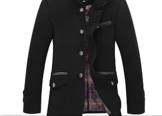 Men's Knit Collar Jacket with PU Leather Details