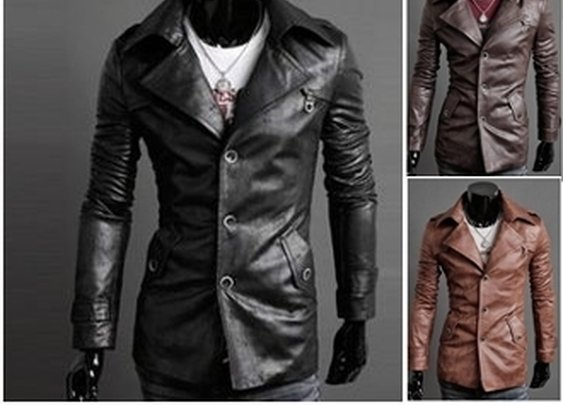 Men's Single Breasted Slim Fit PU Leather Jacket