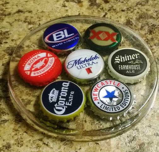 Handmade Bottle Cap Coasters set of 4