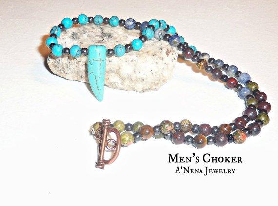 Men's Choker  Multi SemiPrecious Gemstone Free by ANenaJewelry