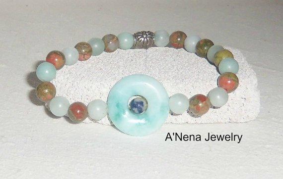 Men's Bracelet Amazonite Sodalite and Unakite by ANenaJewelry