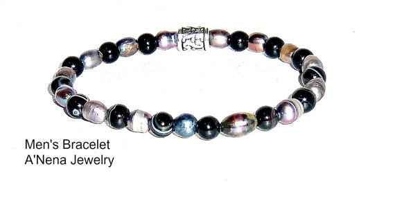 Men's Bracelet Genuine Black Pearl and Onyx  by ANenaJewelry