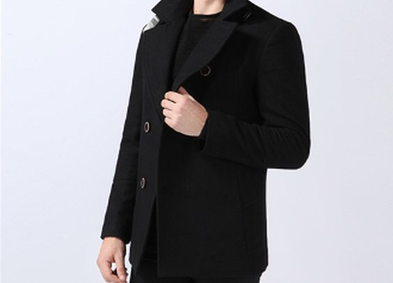 Men's Woolen Coat with Button Details on Collar