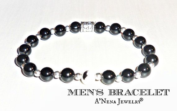 Men's Bracelet    Black And  White Jasper And 925 by ANenaJewelry