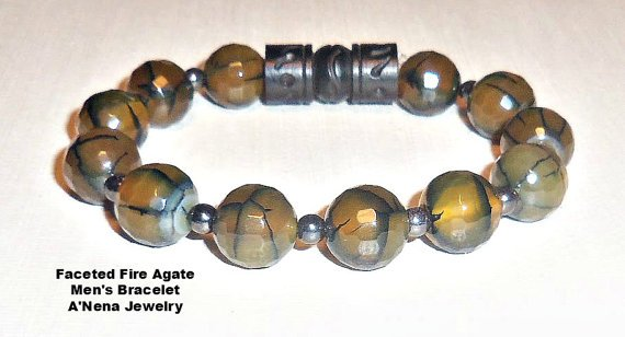 Men's Bracelet Fire Agate Hematite and Carved by ANenaJewelry