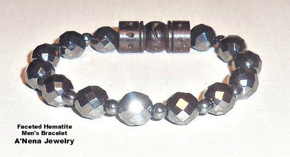 Men's Bracelet Faceted Hematite and Carved wood I by ANenaJewelry